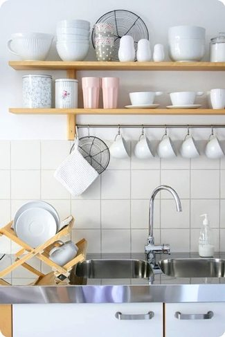 decorate shelves in  kitchen