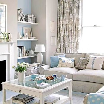 living room in pastel tones