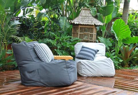 garden with textile decor