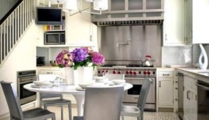 integrated kitchen and dining room