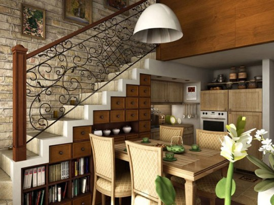 convert staircase into cabinet