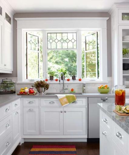 glass window in the kitchen
