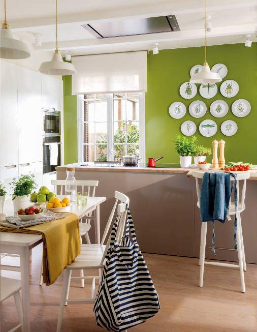 colorful green kitchen