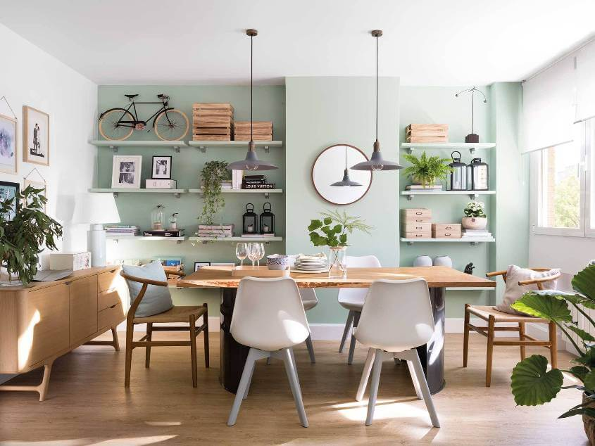 dining room with an accent wall
